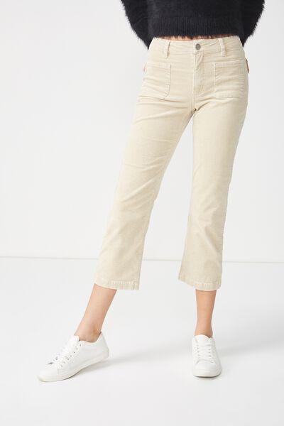 Mid Rise Straight Crop Stretch Jean, ECRU CORD