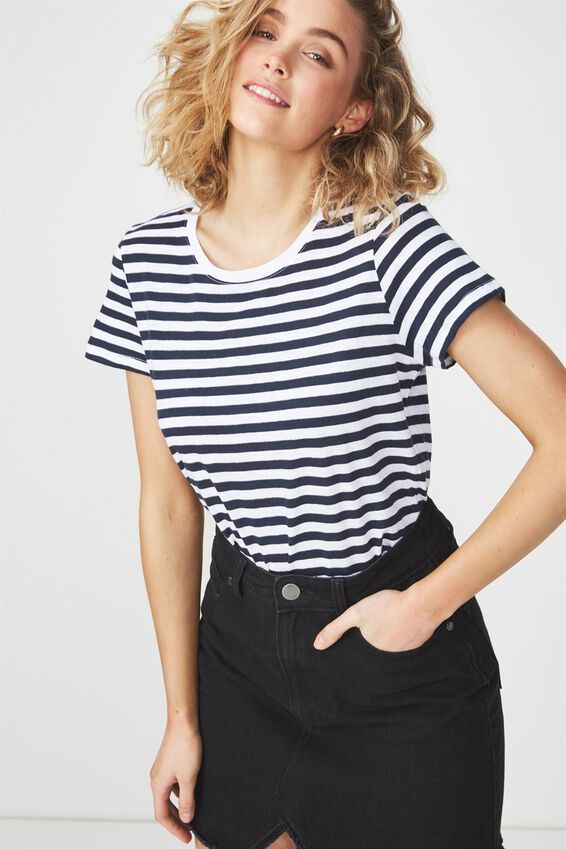 The Crew T Shirt, SADIE STRIPE WHITE/MOONLIGHT