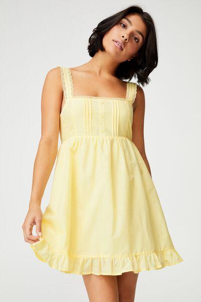 Woven Flora Frilly Pinny Mini Dress, LEMON