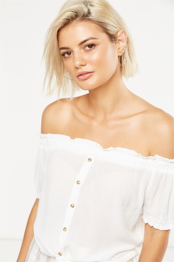 Kim Off The Shoulder Top, WHITE