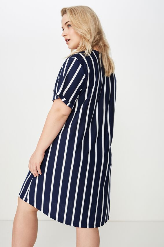 Curve Relaxed Tee Dress, NAVY STRIPE