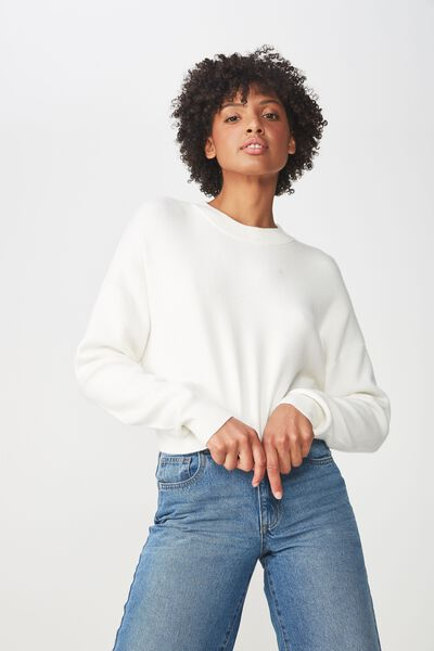 Chloe Cropped Luxe Pullover, WINTER WHITE