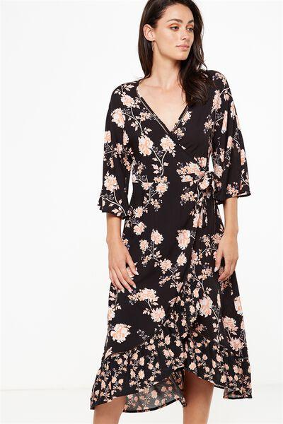 Woven Caitlin Wrap Kimono Sleeve Maxi Dress, ALICIA FLORAL PEACH BUD/ALICIA FLORAL PEACH BUD SM