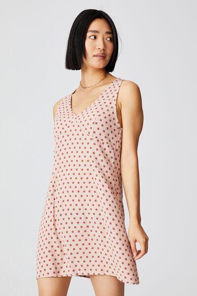 Woven Petite Danny Deep V Sleeveless Mini Dress, SALLY SPOT EVENING SAND