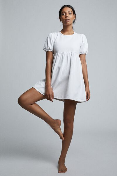 Denim Open Back Babydoll Mini Dress, WHITE