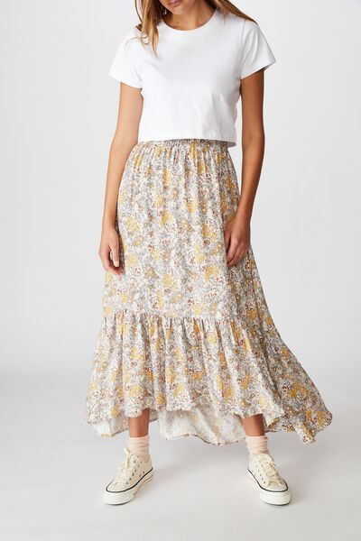 Gypsy Tiered Maxi Skirt, EMILY FLORAL PAISLEY SOFT SAND