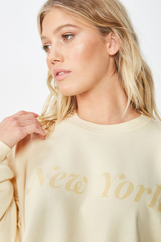 Harper Boxy Crew Graphic Fleece, NEW YORK/BLEACH SAND