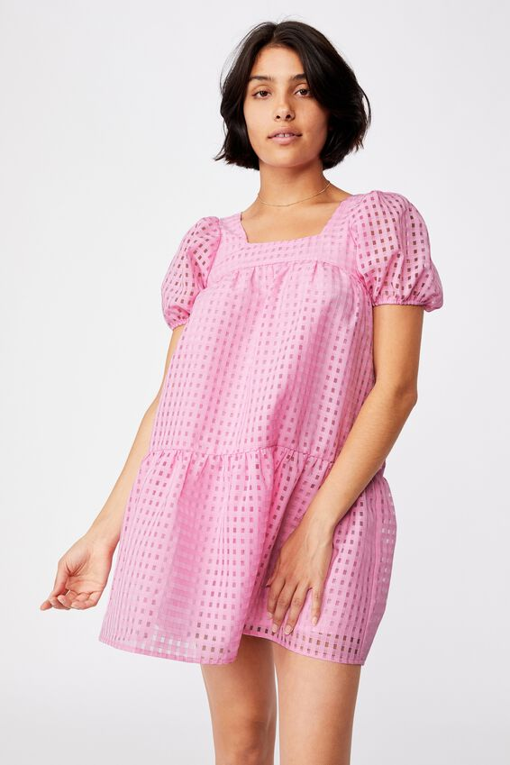 Woven Kit Puff Sleeve Babydoll Tie Back Mini Dress, PINK CHERRY BLOSSOM