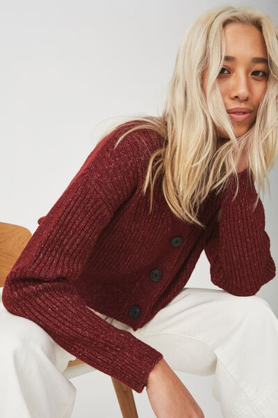 Luxe Cropped Cardi, CABERNET