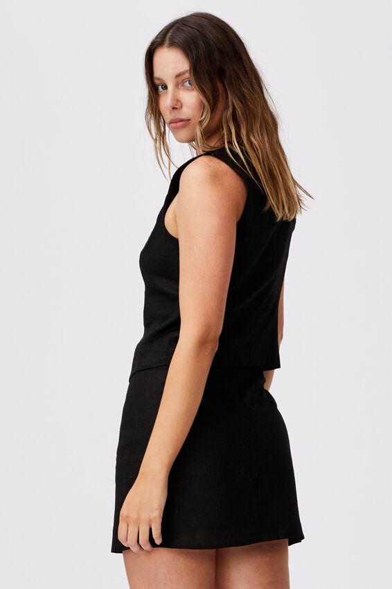 Ultimate Linen Crop Vest, BLACK