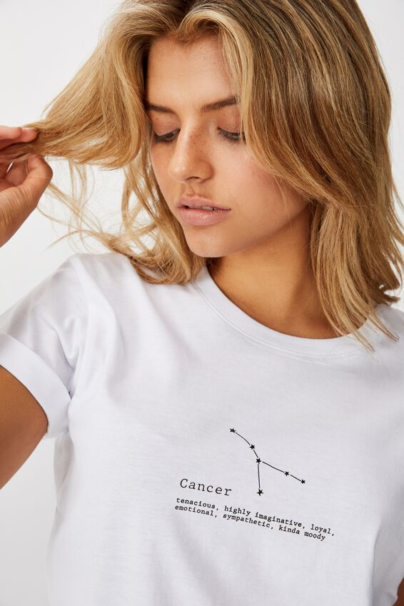 Classic Astrology T Shirt, CANCER/WHITE
