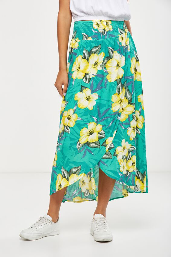 Woven Gloria Maxi Skirt, ILIANA FLORAL ULTRA GREEN