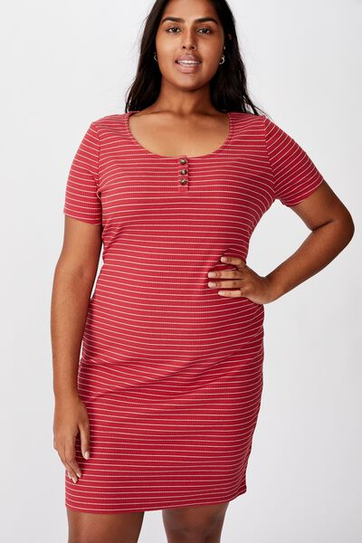 Curve Gabby Short Sleeve Mini Dress, JENNY STRIPE GARNET