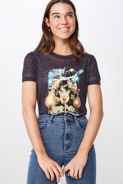 Tbar Remi Graphic Ringer Tee, LCN WB HARRY POTTER POSTER/WASHED MOONLIGHT