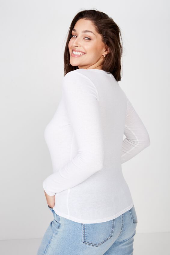 Curve Lillian Snap Henley Long Sleeve Top, WHITE
