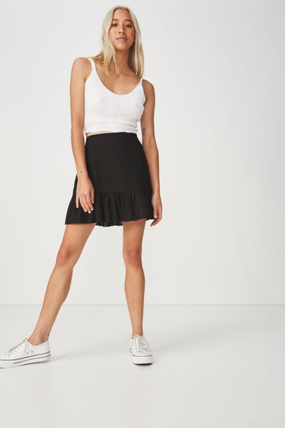 Woven Jordana Mini Skirt, BLACK