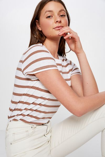 The Crew T Shirt, CORY STRIPE WHITE/BROWNIE MARLE