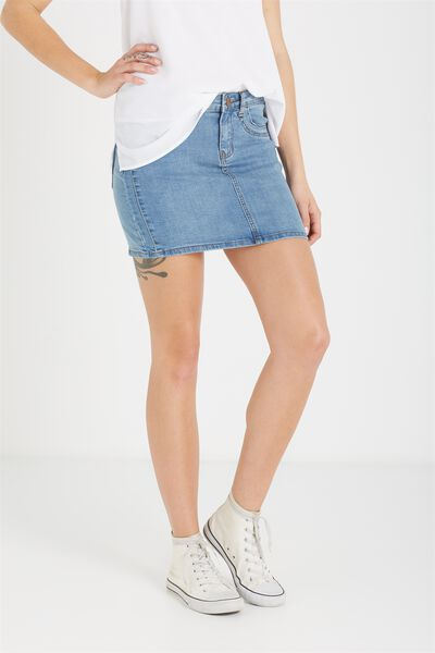 The Mini Stretch Denim Skirt, VINTAGE BLUE