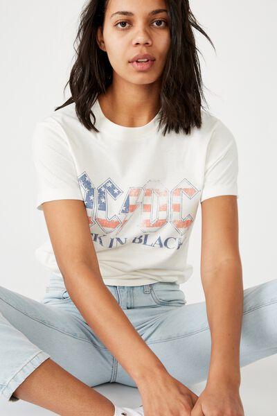 Classic Acdc T Shirt, LCN PER ACDC BACK IN BLACK AMERICA/GARDENIA