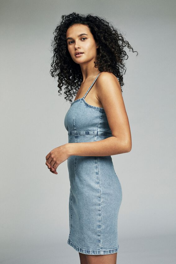 Stretch Denim Mini Pinafore Dress, LIGHT BLUE