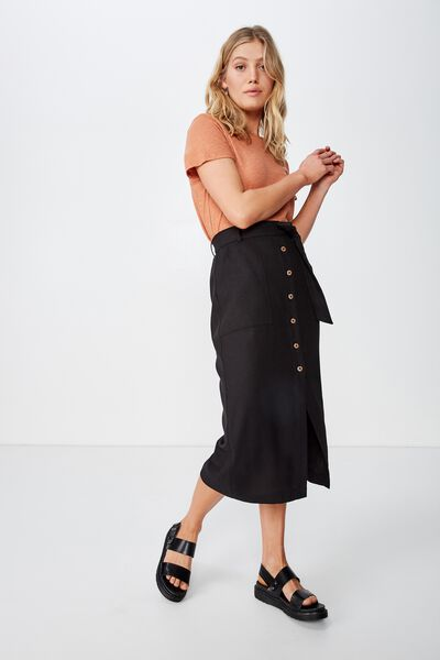 Woven Willow Midi Skirt, BLACK PATCH POCKET