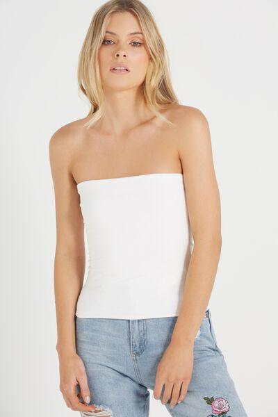 Mia Strapless Tube Top, WHITE