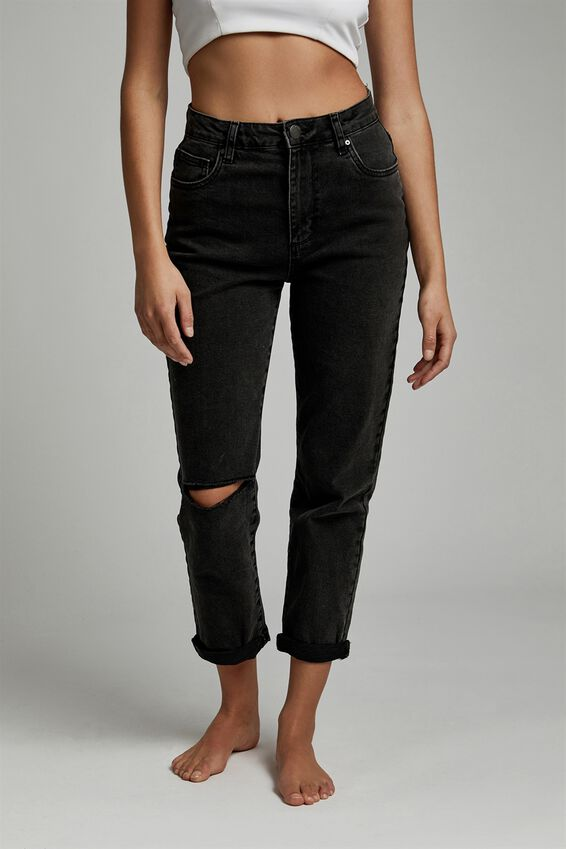 Stretch Mom Jean, STONEWASH BLACK RIP
