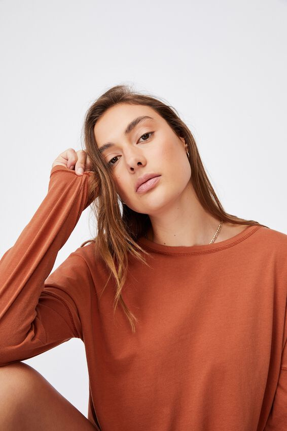 Oversized Side Split Long Sleeve Top, WASHED RED CLAY