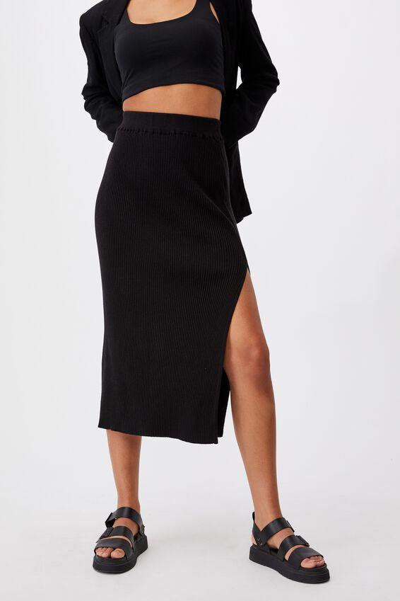 Stella Knit Midi Skirt, BLACK