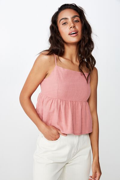Joslyn Peplum Cami, DUSTY ROSE