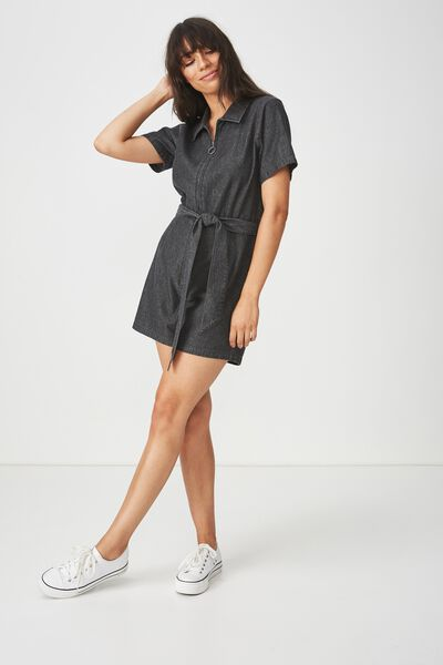 Woven Maria Zip Through Playsuit, BLACK