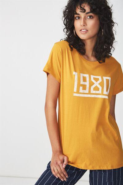 Tbar Fox Graphic T Shirt, 1980/SPRUCE YELLOW
