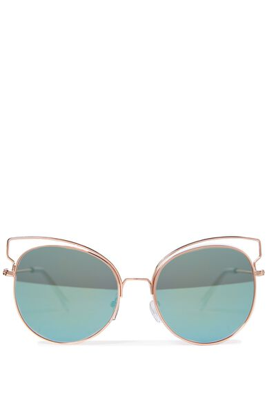 Alicia Butterfly Sunglasses, GOLD/GREEN YELLOW