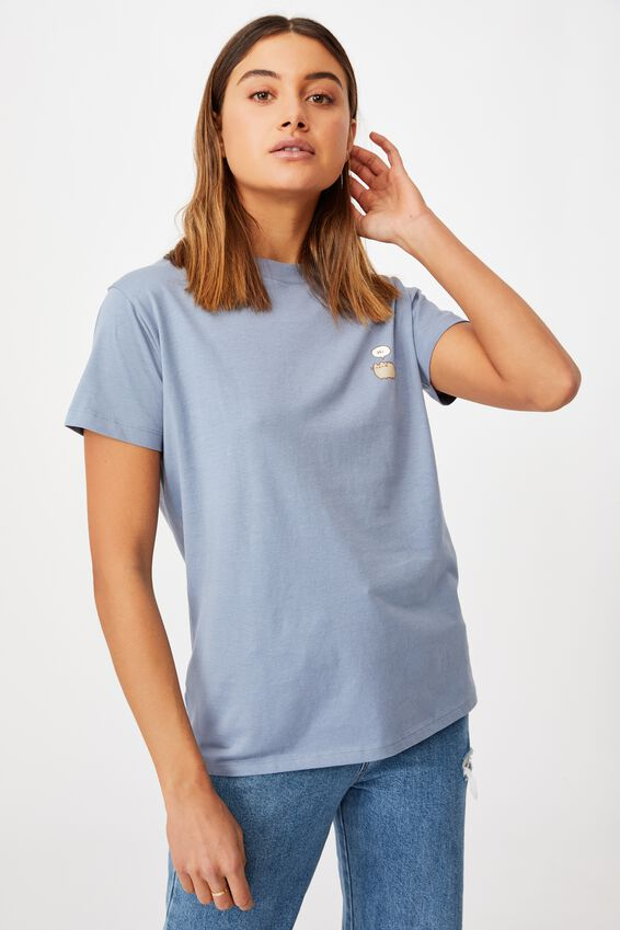 Classic Pop Culture T Shirt, LCN PUSH PUSHEEN HI BYE/SKY BLUE