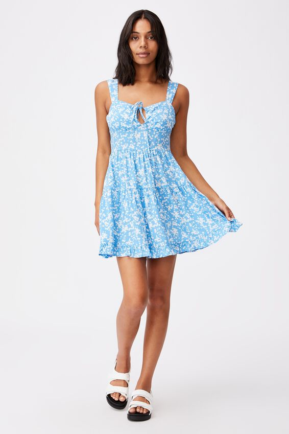 Woven Sandy Skater Dress, LENA DITSY CLASSIC BLUE