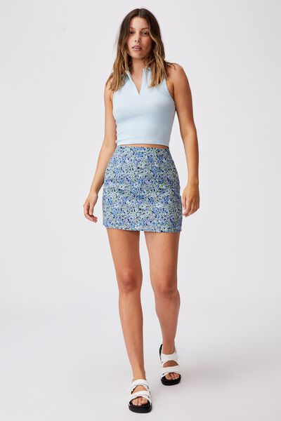 Ultimate A Line Mini Skirt, HANNAH FLORAL BLUE DAISY