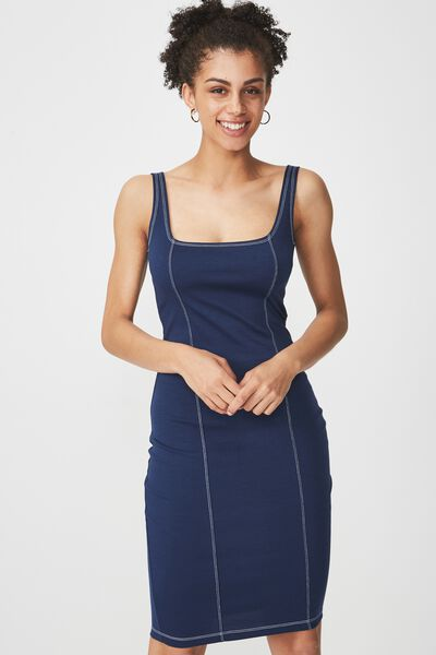 Kimi Scooped Bodycon Midi Dress, SPACE NAVY WITH CONTRAST STITCH