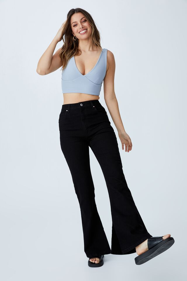 Day To Night Bust Crop Top, SILVER BLUE