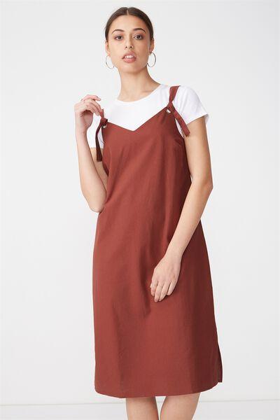 Woven Franco Check Midi Dress, RICH BROWN