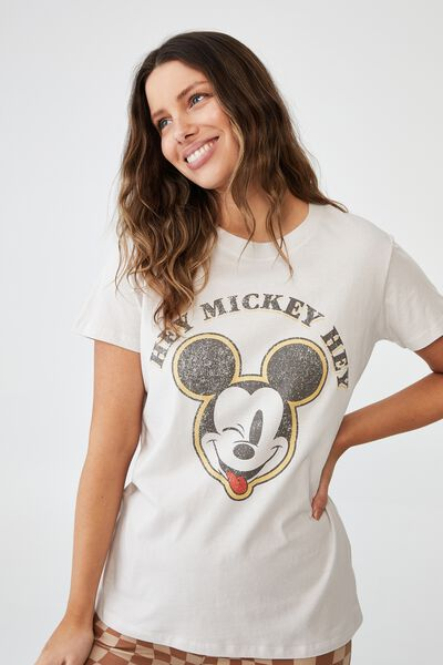 Classic Mickey And Co T Shirt, LCN DIS HEY MICKEY HEY/VINTAGE WHITE