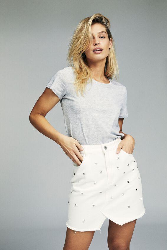 The Re-Made Mini Denim Skirt, WHITE STAR STUDS