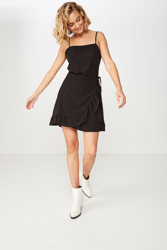 Woven Kiki Summer Mini Dress, BLACK