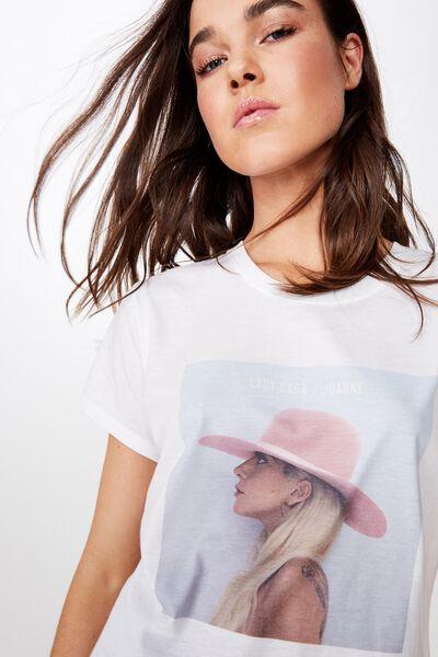 Classic Band T Shirt, LCN BR LADY GAGA HAT/WHITE