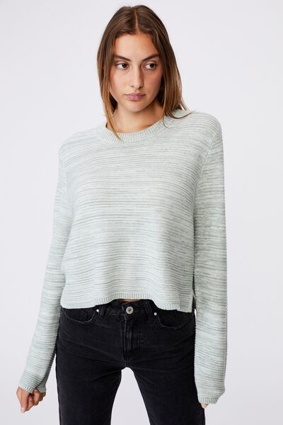 Cotton Cropped Pullover, JADE WHITE TWIST