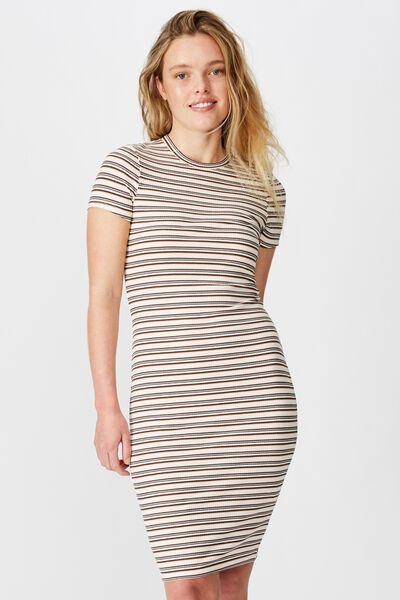 Essential Short Sleeve Bodycon Midi Dress, AYLA STRIPE MADDER BROWN MULTI RIB