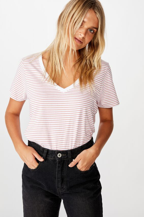 The One Fitted V Tee, JOSIE STRIPE WHITE/CANYON ROSE