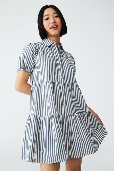 Woven Petite Nikki Mini Shirt Dress, HAYLEY STRIPE STEELE BLUE