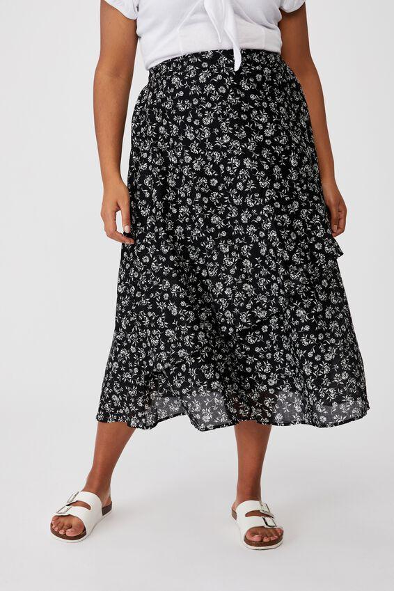 Curve Florence Frill Midi Skirt, ALEX FLORAL BLACK