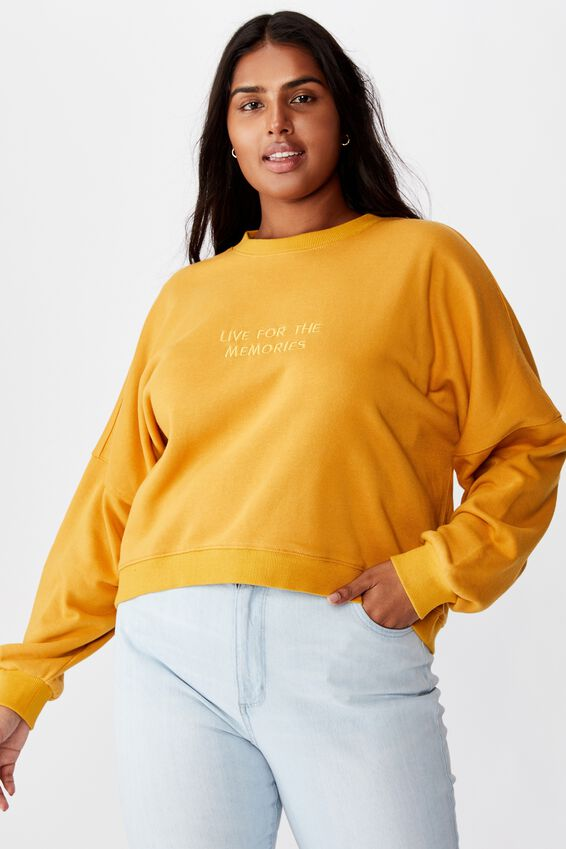 Curve Harper Crew Crop Pullover, LIVE FOR THE MEMORIES NARCISSUS