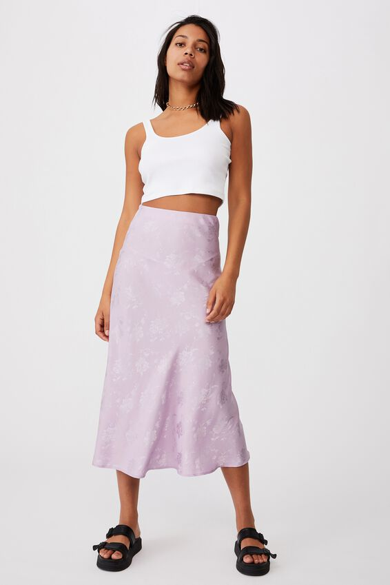 All Day Slip Skirt, FROSTY LILAC FLORAL JACQUARD
